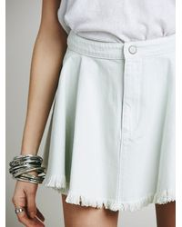 Free People - White Raw Denim Fit And Flare Mini Skirt - Lyst
