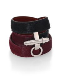 Givenchy - Red Calf Hair & Leather Wrap Bracelet - Lyst