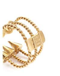 Ela Stone Metallic Angel Triple Spike Rope Ring