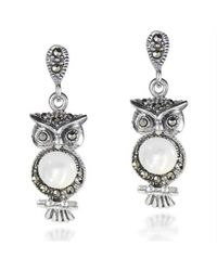 Aeravida | Metallic Night Owl Mother Of Pearl And Marcasite Stone .925 Silver Drop Earrings | Lyst