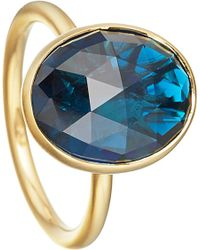 Astley Clarke | London Blue Topaz Large Oval Stilla 18ct Yellow Gold-plated Ring | Lyst