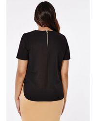 Missguided - Plus Size Necklace Trim Top Black - Lyst