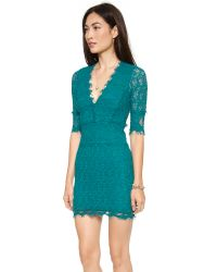 Nightcap Blue Florence Lace Deep V Dress With 3/4 Sleeves
