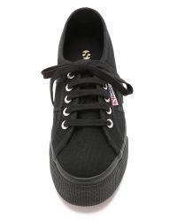 Superga - Black Platform Sneakers - White - Lyst