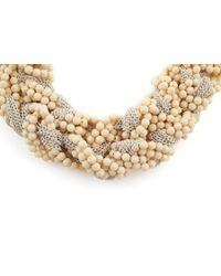 James Lakeland White Neutral Beaded And Chain Plait Necklace