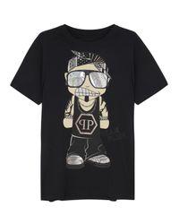 Philipp Plein Sean Plein Black Printed Cotton T-Shirt for men