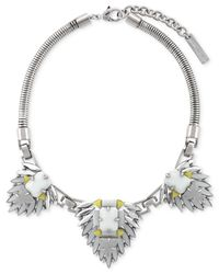 Vince Camuto | Metallic Silver-Tone Stone Cluster Frontal Necklace | Lyst