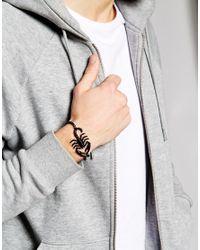 ASOS - Black Scorpion And Chain Bracelet for Men - Lyst