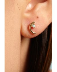 Wwake | Metallic Gold Offset Opal Earrings | Lyst