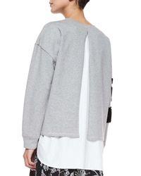 Thakoon Addition - Gray Flocked Floral Sweatshirt - Lyst