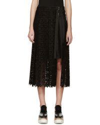 Sacai Black Pleated Lace Wrap Skirt