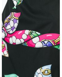 Boutique Moschino - Black Bow Print Short Dress - Lyst