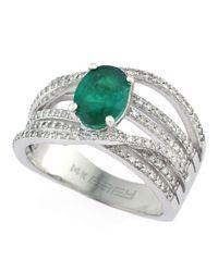 Effy Green Brasilica 14kt. White Gold Emerald And Diamond Ring