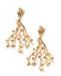 Oscar de la Renta | Metallic Crystal Vine Clip-on Earrings | Lyst