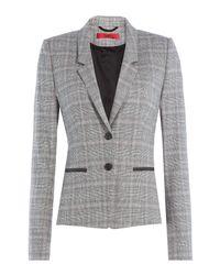 HUGO - Gray Wool-blend Checked Blazer - Multicolor - Lyst