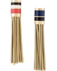 Lanvin - Metallic Striped Clip-on Earrings - Lyst