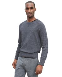 Banana Republic | Gray Chambray-trim Pullover for Men | Lyst