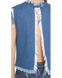 Marques'Almeida Blue Open Denim Crop Top - Pink