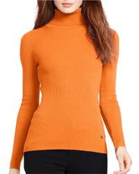Lauren by Ralph Lauren | Orange Petite Ribbed Turtleneck Sweater | Lyst