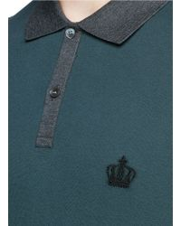 Dolce & Gabbana Green Crown Embroidery Polo Shirt for men