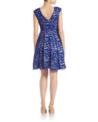 Eliza J Blue Plus Floral Lace Overlay Dress
