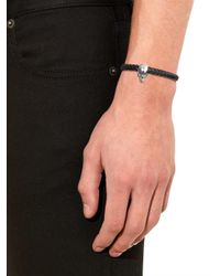 Alexander McQueen | Black Woven-leather And Metal Skull Cuff for Men | Lyst