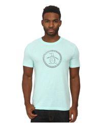 Original Penguin | Blue Triblend Distressed Circle Logo Tee for Men | Lyst