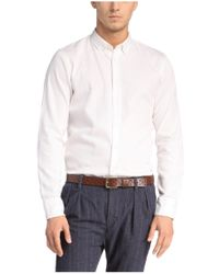 BOSS Orange - White Slim-fit Casual Shirt In Textured Cotton 'edipoe' for Men - Lyst