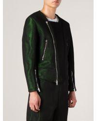 Asger Juel Larsen - Green Two-Toned Biker Jacket for Men - Lyst