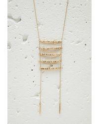 Forever 21 Metallic Longline Ladder Tassel Necklace