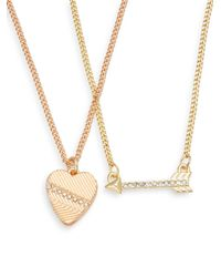 BCBGeneration | Metallic Share The Love Heart & Arrow Necklace Set | Lyst