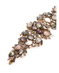 Erickson Beamon Multicolor ''sound Garden' Crystal Cluster Leaf Bracelet