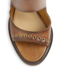 Ferragamo - Brown Narny Grommet Leather Sandals - Lyst