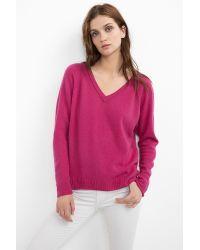 Velvet By Graham & Spencer Purple Yoshi Cashmere Split Seam Sweater