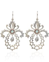 Laurent Gandini Metallic Silver And Rose Gold Labradorite Orchid Earrings