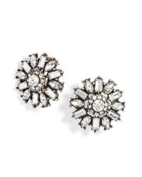 BaubleBar - Metallic Clip-On Crystal Posy Studs - Lyst