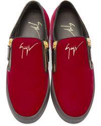 Giuseppe Zanotti Ssense Exclusive Red & Black Velour Slip-on London Sneakers