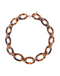 Karen Millen | Brown Acrylic Chain Woven Necklace | Lyst