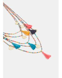 Violeta by Mango - Multicolor Waterfall Bead Necklace - Lyst
