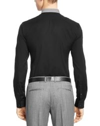 HUGO - Black 'erren'   Slim Fit, Cotton Button Down Shirt for Men - Lyst