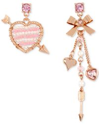 Betsey Johnson | Metallic Rose Gold-tone Beaded Heart And Bow Charm Mismatch Earrings | Lyst