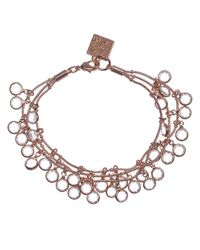 Anne Klein | Pink Rose Goldtone And Crystal Multi Row Bracelet | Lyst