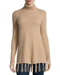 Neiman Marcus | Natural Long Cashmere Turtleneck W/ Fringe Hem | Lyst