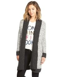 RVCA | Black 'still Free' Long Open Cardigan | Lyst