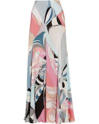 Emilio Pucci Pink Printed Silk-Charmeuse Maxi Skirt