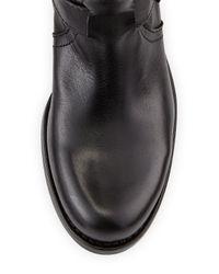 Steven by Steve Madden Black Triger Leather Buckled Boot