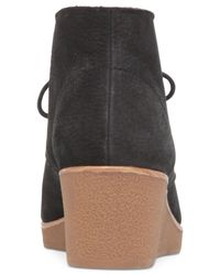 Lucky Brand | Black Women's Junes Lace-up Platform Wedge Booties | Lyst