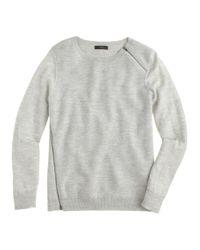 J.Crew - Gray Merino Asymmetrical Zip Sweater - Lyst