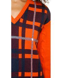MSGM Orange Cable Sleeve Plaid Dress - Burgundy