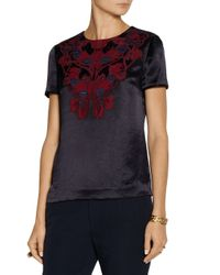 Tory Burch - Blue Tia Appliquãd Texturedsatin Top - Lyst